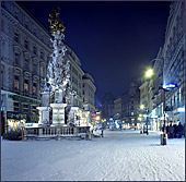 Austria, Vienna, Am Graben mit Pestsäule(the Graben at night), Sideview of the pestilence-columnPhoto Nr.: W108