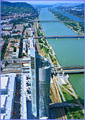 Austria, Vienna, Milenium Tower, Donau & Leopoldsberg, The Milenium Tower with the Danube River & Leopoldsberg in the background, Photo Nr.: W599