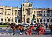 Vienna, Pferdekutsche (Horse-drawn Carriage) at Square Heldenplatz, the Hofburg, Photo Nr.: W2329