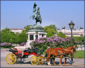 Vienna, Pferdekutsche (Horse-drawn Carriage) at Square Heldenplatz, the Hofburg, Photo Nr.: W2330