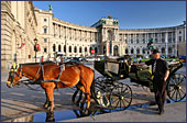 Vienna, Pferdekutsche (Horse-drawn Carriage) at Square Heldenplatz, the Hofburg, Photo Nr.: W2334