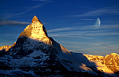 Switzerland, Schweiz, Matterhorn (4478 m), Sunrise with Moon, Photo Nr.: swiss004
