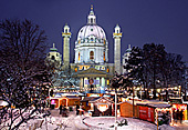 Vienna, Karlskirche im Winter, Adventmarkt Christkindlmarkt, Photo Nr.: W5322